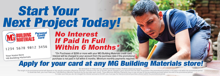 MG Building Materials Personal Credit Card