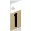 "1"" - 1 Black/Gold Slanted Aluminum Numbers 0"