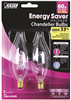 40-Watt Dimmable E12 Candelabra Base Flame Tip Chandelier Halogen Bulb (2Pk) BPQ40CFC/2 0