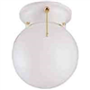 "Light Fixture Ceiling White 6"" Round Globe w/ Pull Chain F3Who1-33753L 0"