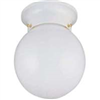 "Light Fixture Ceiling White 6"" Round Opal Globe F3WH01-3375W-3L 0"