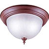 "Light Fixture Ceiling Bronze 13"" Round Frosted Ribbed Glass F51Sno2-1021F3L 0"