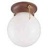 "Light Fixture Ceiling Bronze 6"" Round Globe w/ Pull Chain F30153375 0"