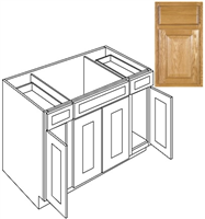 Shop Kitchen Cabinets Country Oak Sink Base 60 In Sb60 Plywood Box Mg Building Supply Tx